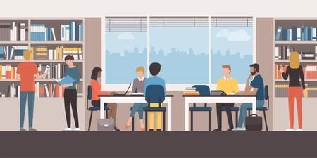 Groupe de personnes étudiant ensemble à la bibliothèque, travaillant avec un ordinateur portable et recherchant des livres