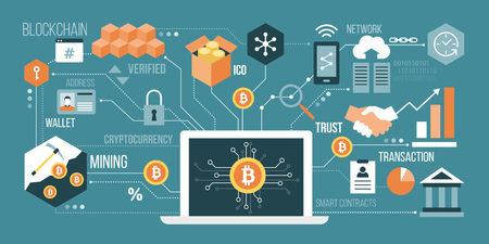 Bitcoin, cryptocurrency and blockchain technology; laptop connected to a network of concepts in colorful illustration.