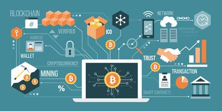 Bitcoin, technologie de crypto-monnaie et blockchain; ordinateur portable connecté à un réseau de concepts en illustration colorée.