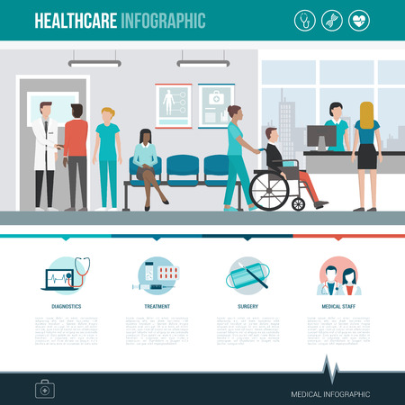 Healthcare, hospitals and medicine infographic with concept icons and copy space Vectores