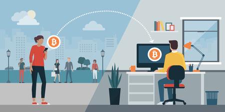 Mujer que envía bitcoins a la computadora de otro usuario con una aplicación móvil: criptomoneda y concepto de transferencia de dinero