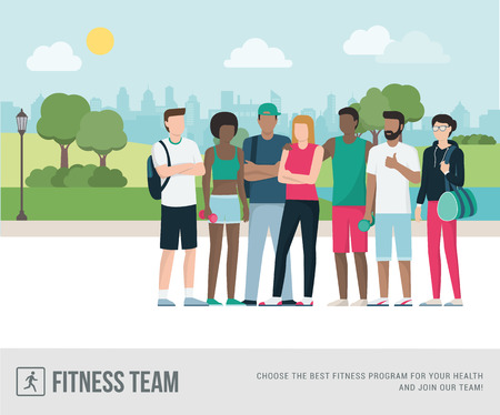 Young sports people posing together at the park, they are jogging outdoors and doing physical exercise, fitness concept. Stock Vector - 93768659