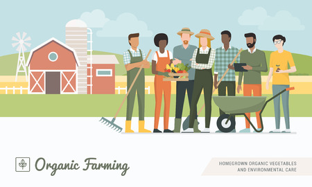 Young farmers team working together and growing organic vegetables, healthy food production concept Illustration