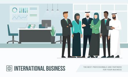 Empresários árabes muçulmanos no escritório, conceito de negócios internacionais