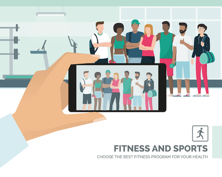 Young multi-ethnic sportspeople posing together at the gym, a man is taking a picture and sharing it online, subjective point of view Stock Vector - 93768736