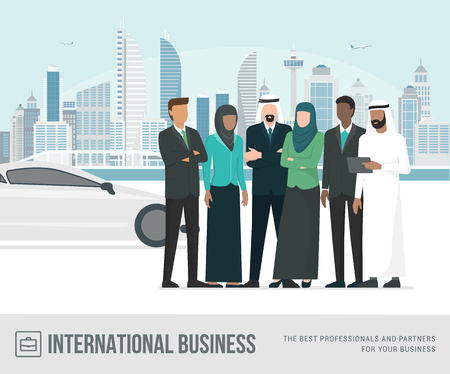 Muslim arab businesspeople posing together, metropolis and luxury car on the background