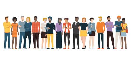 Multiethnische Gruppe von Personen, die zusammen auf weißem Hintergrund-, Verschiedenartigkeits- und Multikulturalismuskonzept steht.