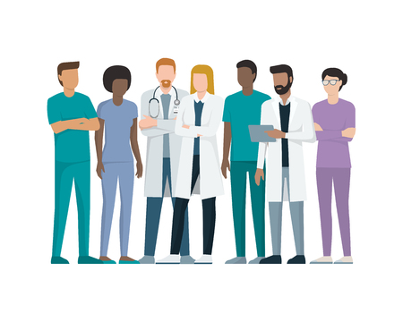 Multiethnic team of doctor and nurses standing together, healthcare and medicine concept Ilustração