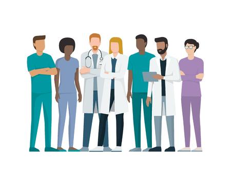 Wieloetniczny zespół lekarzy i pielęgniarek stojących razem, koncepcja opieki zdrowotnej i medycyny