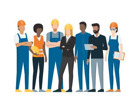 Pracownicy przemysłowi stojący razem: robotnicy fizyczni, technicy, inżynierowie i kierownik Ilustracje wektorowe