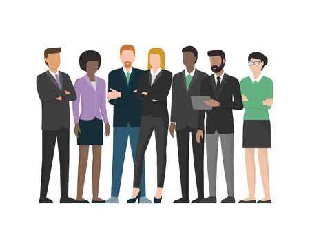 Multiethnic business team: office workers and executives standing together