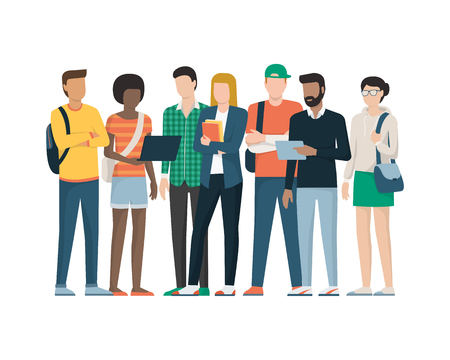 Multiethnic group of young students standing together, education and youth concept Illustration