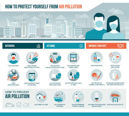 How to protect yourself from air pollution outdoors and at home, diet improvement and pollution prevention tips, vector infographic with icons