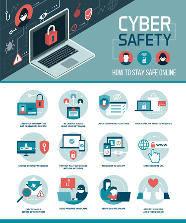 Suggerimenti per la sicurezza informatica infografica: come connettersi online e utilizzare i social media in modo sicuro, infografica vettoriale con icone.