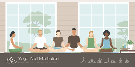Multi-ethnic group of people sitting together in the lotus position, they are practicing mindfulness meditation and yoga, healthy lifestyle and spirituality concept. Vectores