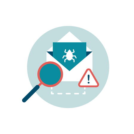 Check e-mail with an antivirus and attachment with virus, cyber security icon Illustration