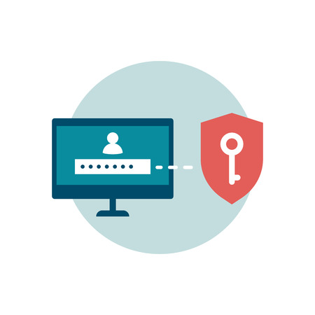 Use strong passwords to protect your accounts online, cyber security icon.