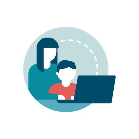 Surfer sur le Web en toute sécurité pour les enfants: une mère se connecte avec son enfant