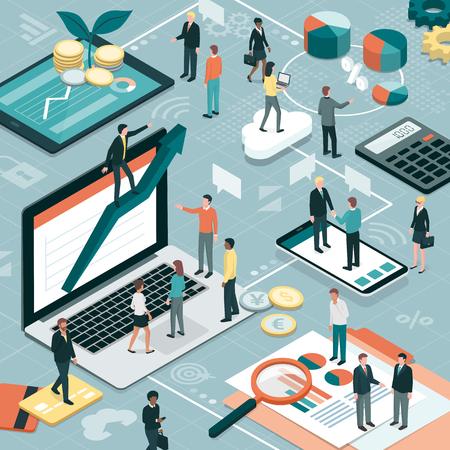 Geschäftsleute, die zusammenarbeiten und eine erfolgreiche Geschäftsstrategie entwickeln: Marketing- und Finanzkonzept