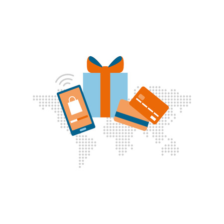 Shopping and international delivery concept: shopping app, credit cards and gift box on a world map