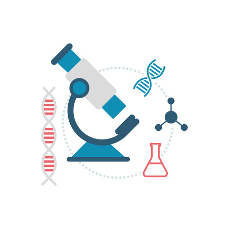 Microscope and medical icons: science and medical research concept