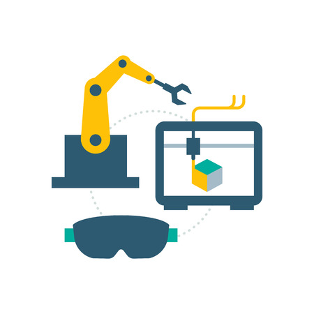 Smart industry concept: robotic arm, 3d printer and vr glasses 矢量图像