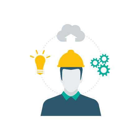 Industrial worker with safety helmet and industry icons