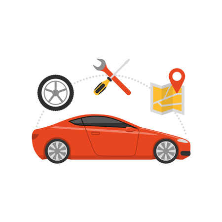 Car servicing and GPS navigation, automotive and roadside assistance concept. Vettoriali