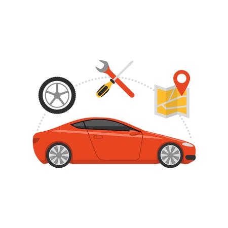 Car servicing and GPS navigation, automotive and roadside assistance concept. Illustration