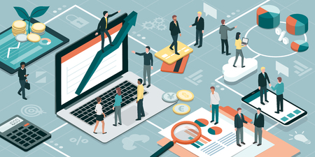 Business people working together and developing a successful business strategy: marketing and finance concept. Illustration
