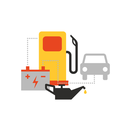 Filling station, roadside assistance and repair, car and automotive concept