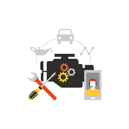 Car servicing and repair, automotive and roadside assistance concept