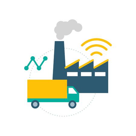 Industria 4.0 e logistica: fabbrica, camion e connessione wireless
