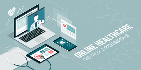 Online healthcare and medical consultation: doctor videocalling on a laptop and medical apps on mobile devices