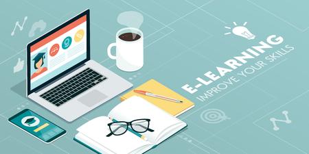E-Learning-Plattform und Online-Kurse auf Laptop und Smartphone: Innovatives Bildungskonzept Vektorgrafik