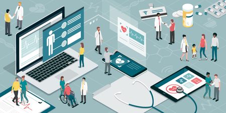 Healthcare and innovative technology: apps for medical exams and online consultation concept Ilustração Vetorial
