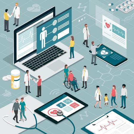 Asistencia sanitaria y tecnología innovadora: aplicaciones para exámenes médicos y concepto de consulta en línea