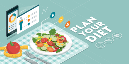 Food and diet app showing nutrition facts and calories of a meal, healthy eating and technology concept