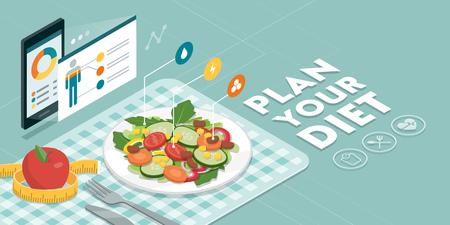 Eten en dieet-app met voedingsfeiten en calorieën van een maaltijd, gezond eten en technologieconcept