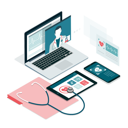 Healthcare consultation app on laptop, smartphone and tablet Vectores