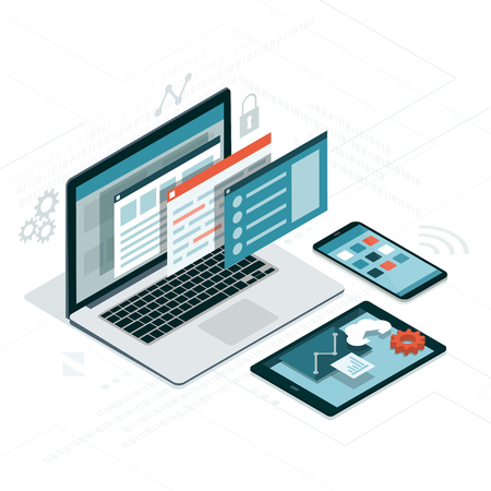Web visual interface on laptop, tablet and smartphone  イラスト・ベクター素材