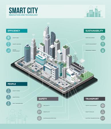 Città intelligente, realtà aumentata e concetto di tecnologia: metropoli con grattacieli e persone su uno smartphone. Info-grafica isometrica di vettore.