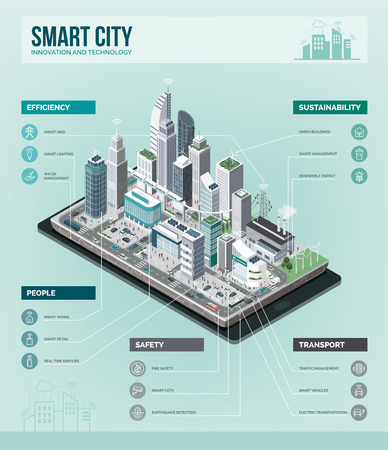 Inteligentne miasto, rzeczywistość rozszerzona i koncepcja technologii: metropolia z drapaczami chmur i ludźmi na smartfonie. Graficzne informacje izometryczne wektorowe.