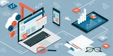 Web design, development and information technology: laptop, smartphone and tablet on an isometric desktop. Illustration