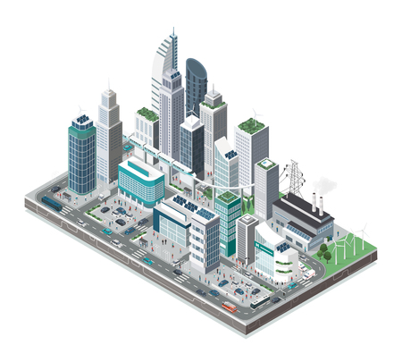 Smart city with skyscrapers, people and transport on white background, innovation and urban technology concept.