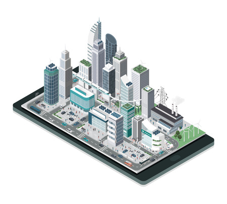 Smart city, augmented reality and technology concept: metropolis with skyscrapers and people on a smartphone.