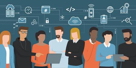 Employee and electronic icon symbol illustration