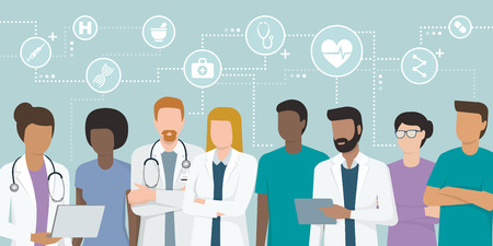 Multi-ethnic team of doctors and nurses working together Stock Illustratie