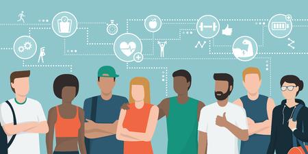 Multiethnisches Team von Athleten, die zusammen aufwerfen und sich vernetzen