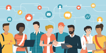 Young people social networking and connecting together online: community and internet concept
